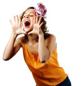 Young blonde woman shout and scream using her hands as tube — Stok fotoğraf