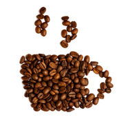 Cup of coffee from coffee beans — Stock Photo