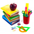 Foto de Stock  : Back to school supplies. Isolated.