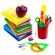 Stock Photo: Back to school supplies. Isolated.