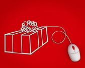 Buy gift online concept over red background — Stock Photo