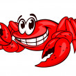 Stock Vector: Smiling red crab
