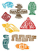 Ancient maya monsters — Stock Vector