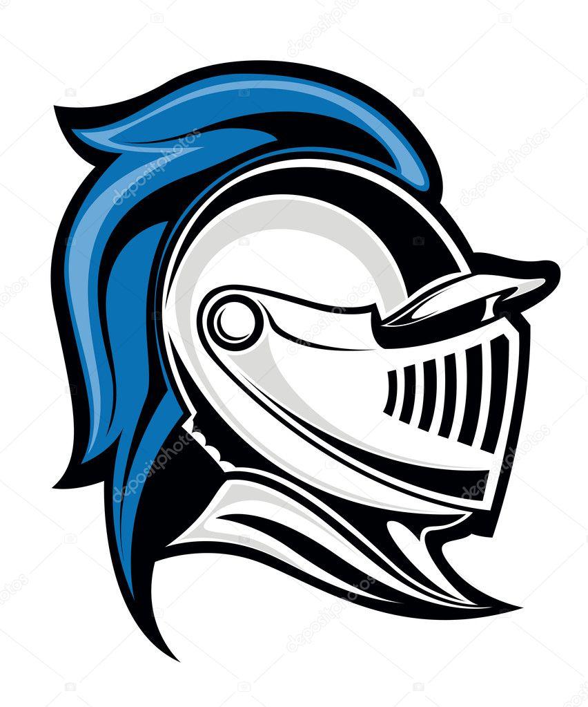 中世纪的骑士头上戴头盔.矢量插画 — 矢量图片作者 buchan