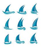 Yachts and sailboats — Stock Vector