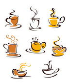 Cups of hot coffee — Stock Vector