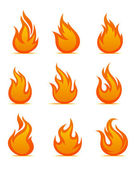 Fire warning symbols — Stock Vector