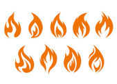 Fire flames symbols — Stock Vector