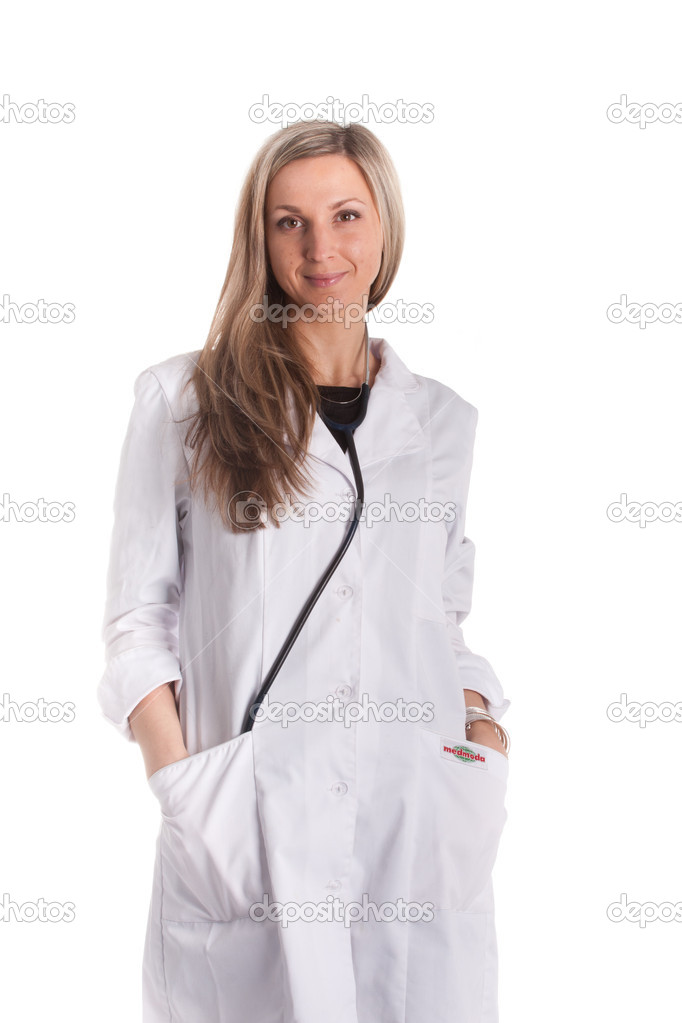 Standing woman doctor with stethoscope in a white robe — Stock Photo #8946771