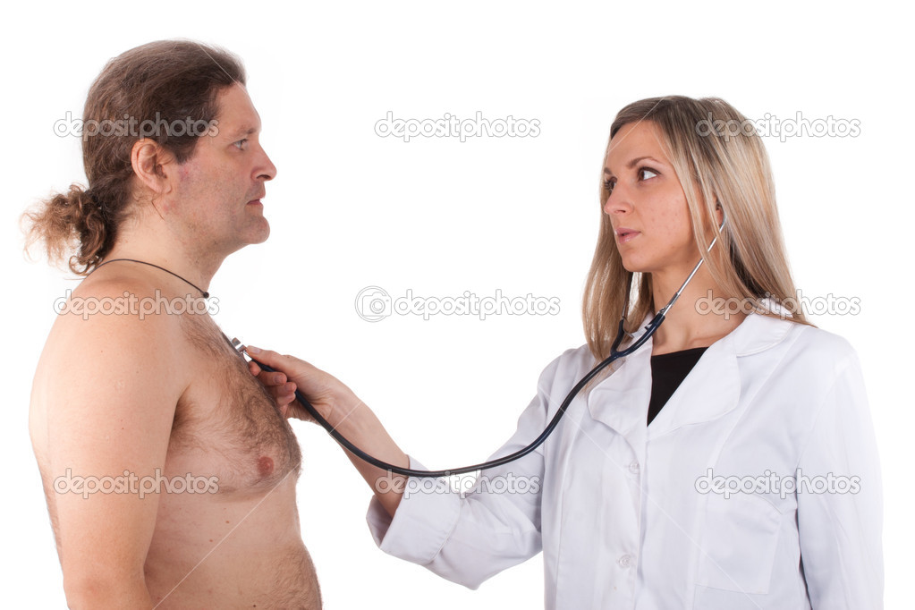 Woman doctor makes a medical examination for a man — Stockfoto #9306597