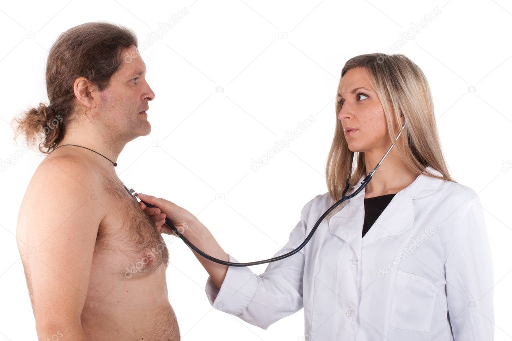 Woman doctor makes a medical examination for a man — Zdjęcie stockowe #9306597