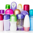 Plastic cosmetics bottles on white background — Stock Photo #8129010