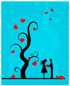 Couple under a tree. — Stock Vector