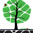 Tree illustration with green leafs — Stock Vector
