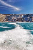 Frozen blue lake — Stock Photo