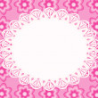 Lace frame with pink flowers. — Stock Vector