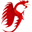 Heraldry, red dragon. - Stock Vector