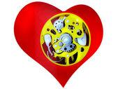 Corazón con el mecanismo interior — Foto de Stock