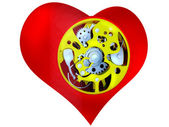 Heart with the mechanism inside — ストック写真
