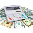 Electronic calculator and cashes — Stock Photo