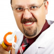 Crazy bald-headed Doctor — Stock Photo