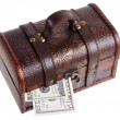 Stock Photo: Wooden chest with money