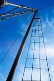 Marine rope ladder at pirate ship. Ladder upstairs on the mast. — Stock Photo