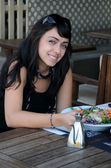 Young Turkish Girl in the Restaurant — Stock Photo