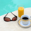 Stock Photo: Coffee, Orange Juice and Sunglasses
