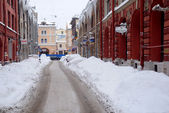 Street Under Snow in Saint-Petersburg — Stock Photo