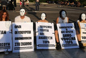 White-Masked Protesting in Athens — Stock Photo