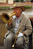 Playing Jazz On The Charles Bridge — Stock Photo