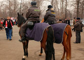 Mounted Police Officers Before Soccer Game — Stock Photo