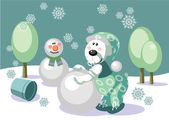 Bear make snowman color 16 — Vector de stock