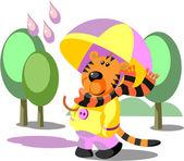 Tiger walking color 02 — Stock Vector