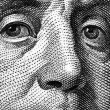Extreme close-up of one hundred bill Franklin portrait. — Stock Photo #8730482