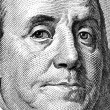 Extreme close-up of one hundred bill Franklin portrait. — Stock Photo