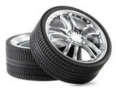 Car wheels on white background. — Stock Photo