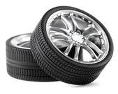 Car wheels on white background. — Stock Photo
