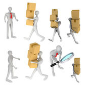 Set of images with 3d man delivering a a parcel to another 3d ma — Stock Photo