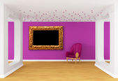 Gallery's hall with purple chair and ornate frame — Stock Photo
