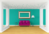 Purple couch, table and standard lamp and picture frame in modern gallery — Stock Photo