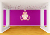Gallery's hall with silhouette of chandelier — Stock Photo