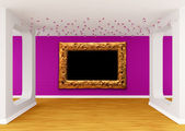 Gallery's hall with golden frame — Stockfoto
