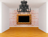 Room with black chandelier and ornate frame — Stock Photo