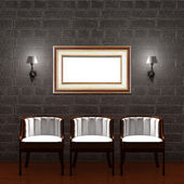 Three chair with empty frame and sconces in dark minimalist interior — Stok fotoğraf