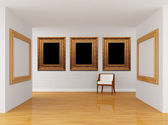 Empty gallery's hall with chair — Stock Photo