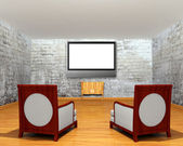 Gallery's hall with chairs and lcd tv — Stock Photo