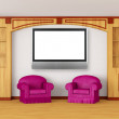 Foto Stock: Purple chairs with bookcase and lcd tv in modern interior