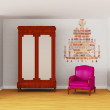 Cupboard with luxurious chair and silhouette of chandelier in interior — Stock Photo